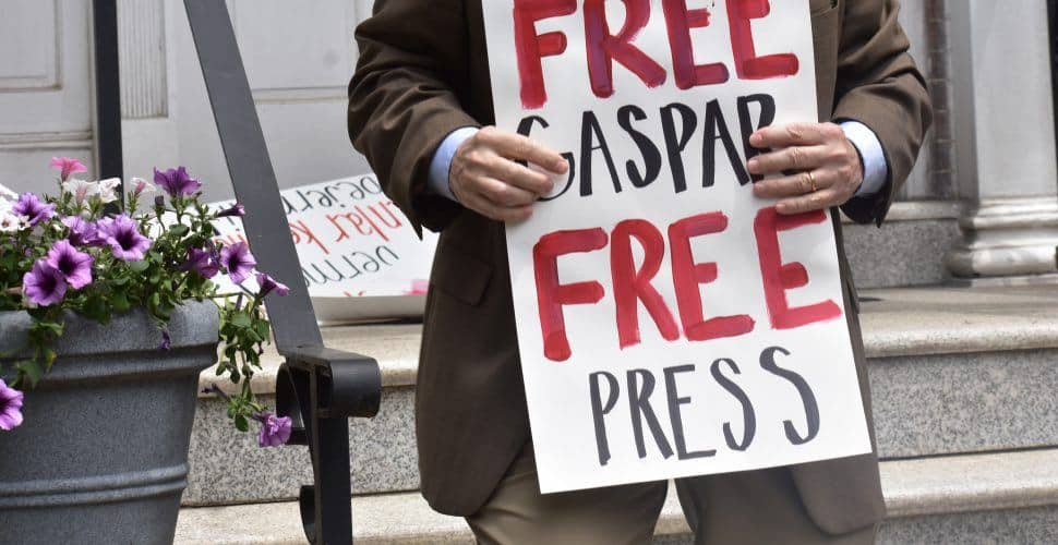 Free Gaspar Free Press sign