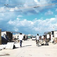 A migrant workers' shanty town in Apulia, southern Italy