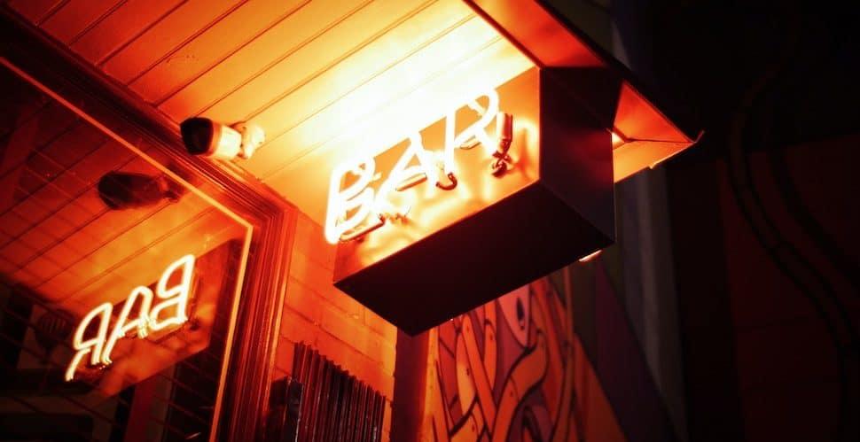 Lit up bar sign